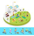 isometric city park composition with active people vector image