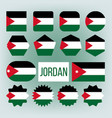 jordan various shapes national flags set vector image