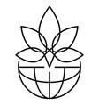 leaf marijuana logo outline style vector image vector image