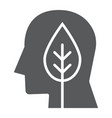 leaves in head glyph icon ecology and energy vector image