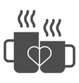 love mugs solid icon cups with heart vector image vector image
