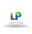 lp l p colorful letter origami triangles design vector image vector image
