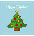 merry christmas tree pine decoration balls star vector image vector image