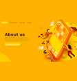 modern banner template with tiny people and giant vector image vector image