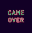 neon inscription of game over vector image