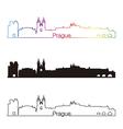 Prague skyline linear style with rainbow vector image