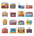 radio music old device icons set cartoon style vector image