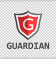 red shield logo in flat style with word guardian vector image