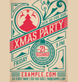 retro christmas party poster holidays flyer vector image vector image