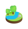 River in a summer forest isometric 3d icon vector image