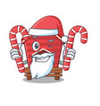 santa with candy toy chicken coop in cartoon table vector image