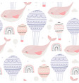seamless childish pattern with pink sleeping vector image vector image