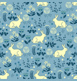 seamless pattern with bunny forest vector image vector image