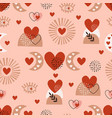 seamless pattern with love boho sun eye moon vector image vector image