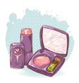 Skincare make-up blusher and lipstick card vector image