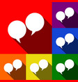 speech bubble sign set of icons with flat vector image vector image