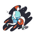 sportsman dribbling playing basketball cartoon vector image