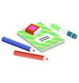 stationery for school and work notebook and pen vector image vector image