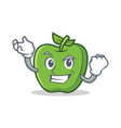 successful green apple character cartoon vector image vector image