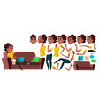 teen girl black afro american animation vector image vector image