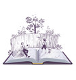 tom sawyer paints fence open book vector image