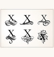 vintage set capital letter x for monograms vector image vector image