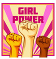 vintage style girl power poster raised fist vector image