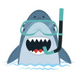 white shark with diving equipment in water vector image vector image