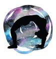 women silhouette upward bow wheel yoga pose vector image vector image