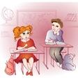 boy looking to the girl in school vector image