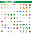 100 flora icons set cartoon style vector image