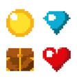 pixel game set icons arcade retro vector image