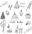 Set of party doodles on white background vector image
