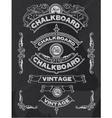 Floral decorative chalkboard banner and ribbon set vector image