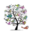 Art tree with funny fishes for your design vector image