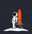astronaut is being prepared to flies in space vector image vector image