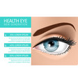 banner with close up view of detailed womans eye vector image vector image