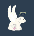 bear in angel costume vector image vector image