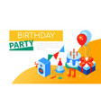 birthday party - modern colorful isometric web vector image