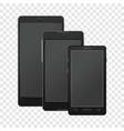 black modern digital smartphones mockup vector image