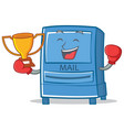 boxing mailbox character cartoon style vector image vector image