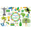 brazilian carnival icons flat style brazil vector image vector image