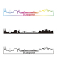 budapest skyline linear style with rainbow vector image vector image