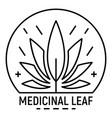cannabis medicine leaf logo outline style vector image vector image