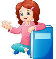 cartoon little girl with a big book vector image vector image