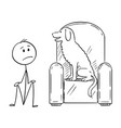 cartoon of man sitting on ground because a dog is vector image