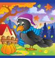 cartoon raven theme image 2 vector image