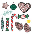 christmas hand drawn gifts style holiday season vector image