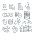 coin stacks or pennies isolated sketches banking vector image vector image