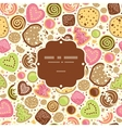 Colorful cookies frame seamless pattern background vector image vector image